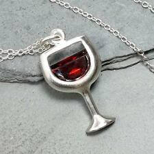 Wine Glass Necklace - 925 Sterling Silver - Red CZ Red Wine Charm Jewelry NEW