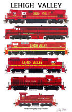 "Lehigh Valley Red Locomotives 11""x17"" Railroad Poster by Andy Fletcher signed"