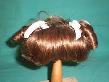 """doll wig brown 9"""" short hair w. fringe, pigtails"""