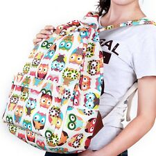 Women's Children Cartoon Multi-color OWL Printing CanvasShoulder Bag Backpack