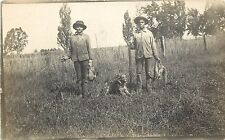 c1910s RPPC Postcard; Boys with Guns, Retriever Dog & Small Game, Hunting