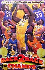 Los Angeles Lakers Back to Back Champs Orig.Starline Poster OOP Shaq Kobe