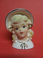 Vintage Christmas Inarco Blond Girl w/Poinsettias & Gold Trim Head Vase, #E-1274