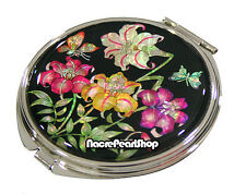 Mother of Pearl Cosmetic Purse Pocket Compact Mirror with Lily Design