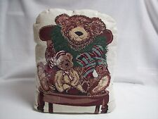 """Christmas Bear Tapestry Door Stop 14"""" x 11"""" Soft Stuffed Weighted"""