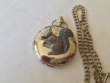 A35 Sitting Squirrel   polished silver case mens GIFT quartz pocket watch fob