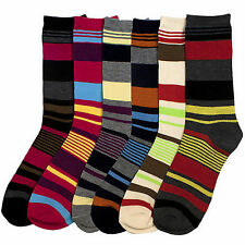 6 Pairs Striped Socks Size 9-11 Assorted Multi-Colored Crew Length Womens Lot