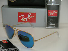 Ray Ban Aviator RB 3025 112/17 Gold frame & BLUE MIRROR FLASH Lens SUNGLASSES