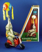 Vintage Elephant on Bike tin toy clockwork PMS 212, 1990's, China, unused in Box