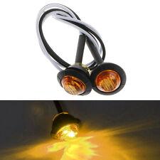 "2X Mini Amber 3/4"" Round Side 3 LED Marker Trailer Car Bullet Light Waterproof"