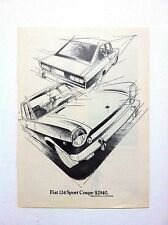 Vintage 1969 FIAT 124 Sport Coupe Car Original Print Ad Automobile