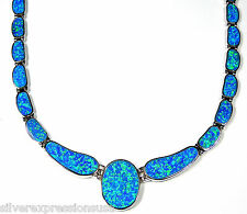 """Amazing Blue Fire Opal Inlay Genuine 925 Sterling Silver Link Necklace 18"""""""