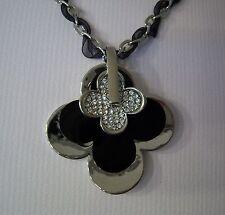 Kette Collier - Silber Schwarz - Anhänger Kleeblatt Kristalle 42-48 cm NEU