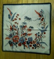 "Jim Renoir Red White Blue Floral Large Scarf  30"" x 30"""