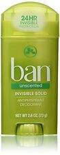 6 Pack - Ban Anti-Perspirant Deodorant Invisible Solid Unscented 2.60oz Each