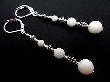 A PAIR TIBETAN SILVER WHITE JADE  BEAD  EXTRA LONG LEVERBACK HOOK EARRINGS. NEW.
