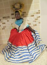 """VINTAGE BLACK AMERICANA MAMMY DOLL 18"""" WITH LONG NECKLACE"""