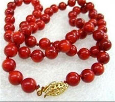 10mm Red Sea Coral Round Beads Necklace 18""