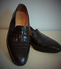 Vintage MAURI Men's ALLIGATOR SKIN, size 9 Black, slip- on dress shoe.
