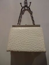 VINTAGE OSTRICH  IVORY WHITE LEATHER PURSE BAG