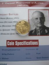 East Caribbean States ECCB 2003 Bernard Montgomery $2 Gold Plated Piedfort Coin