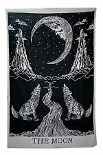 Crying Wolf of The Moon Tapestry Bohemian Art Throw Cotton Bed Decor Cover 84X54