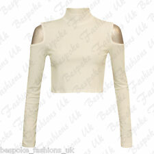 Ladies Womens Long Sleeve Shoulder Cut Out Ribbed Polo Turtle Neck Crop Top 8-14