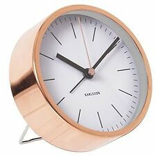Karlsson MINIMAL ALARM CLOCK COPPER Case WHITE Face SILENT Modern 10cm diam