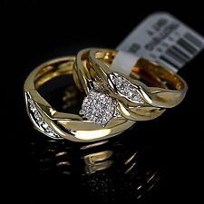 Men's Ladies Yellow 10K Gold Real Genuine Diamond Ring Wedding Bridal Trio Set
