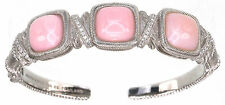 Judith Ripka Pink Opal Textured Hinged Sterling Silver Cuff Size Small