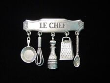"""JJ"" Jonette Jewelry Silver Pewter 'LE CHEF with Cooking Charms' Pin"