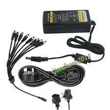 12V 5A 60W DC Power Supply Adapter with 8 way for CCTV Security Camera DVR UK