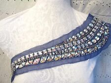 "15"" ** JEWELED ** One Shoulder Neckline Applique - BLUE"