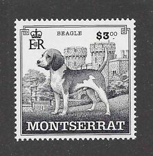 Dog Line Art Full Body Portrait Postage Stamp BEAGLE HOUND Montserrat 1999 MNH