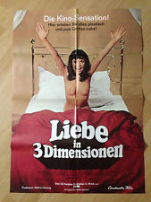 Filmposter * Kinoplakat * A1 * Liebe in 3 Dimensionen * EA 1973 * I. Steeger