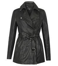 Muubaa Jena Long Leather Mac Trench Coat in Black. RRP £399. UK 8. M0323.