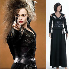 Cosplay Harry Potter Bellatrix LeStrange Noir Robe Costume *Sur Mesure*