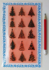 "Clear Stamps Lot (4""x7"") Christmas Trees Pattern FLONZ Vintage Rubber Stamps 048"