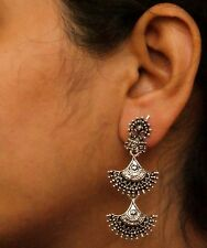 Ethnic Bridal Jewelry Silver White Oxidized Indian Pearl Earing Jhumka Jhumki
