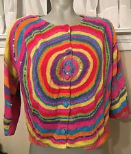 MICHAEL SIMON Rainbow Circle Ramie Cotton Metallic Cardigan Sweater Shrug, MED