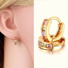 Elegant Women 18K Gold Filled Rainbow Swaroski Crystal CZ Huggie Hoop Earrings