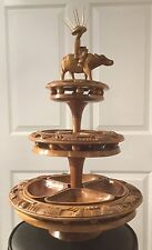 Carved Wooden Lazy Susan Monkey Pod Wood 3 Tier Serving with Bowls Water Buffalo