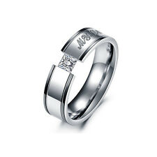 New 1pc Women Men Crystal Engagement MY LOVE Couple Ring Stainless Steel Band