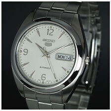 SEIKO 5 MENS AUTOMATIC 21 JEWELl WHITE FACE SNX121K1