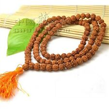 "108 6.5X6mm Rudraksha Bodhi Seeds Prayer Beads Mala Necklace 26"" w Golden Tassel"
