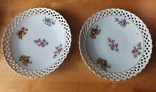 Two Vintage  Schumann Germany six inch Ribbon plates  Flowers