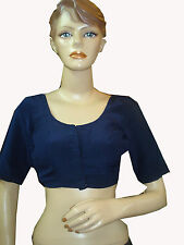 ANTIQUE VINTAGE NAVY BLUE BLOUSE INDIAN CHOLI,SIZE M