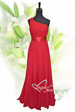 One Shoulder Chiffon Bridesmaid Prom Evening Dress