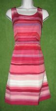 Ann Taylor Loft Pink Multi-color Stripe Ribbed Satin Pocket Tea Dress 2 $99 MISC