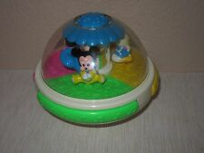 Vintage Disney Baby Roly Poly Toy Lights Music Mickey Mouse Minnie Donald Bubble
